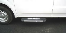 NV van running board in polished finish shown on driver side